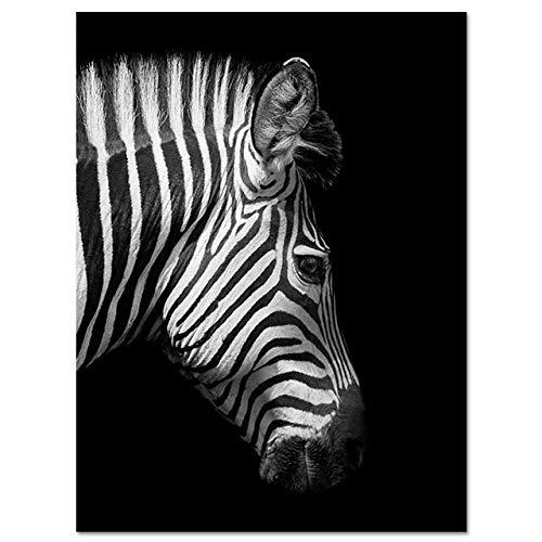 LiMengQi Toile Art Animaux Affiches et Impressions Girafe Noir et Blanc éléphant zèbre Peinture pour Salon Art Mural Photo décorative (sans Cadre)