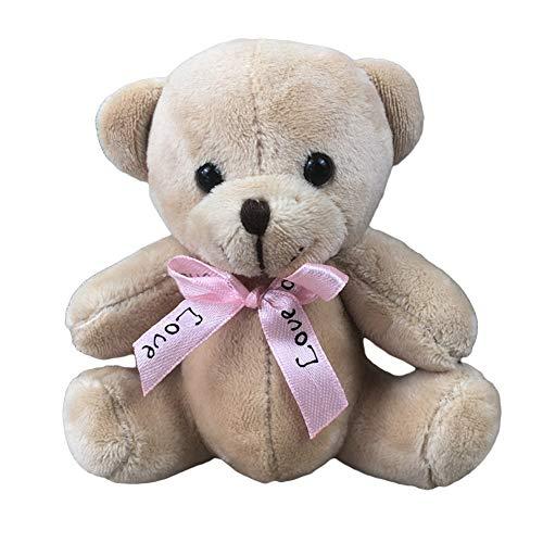 Jiacheng29_ Llavero con colgante de muñeca de oso de peluche de 10 cm, llavero para colgar en bolsa de teléfono, decoración para novia o novio, amigo, color marrón claro, talla única