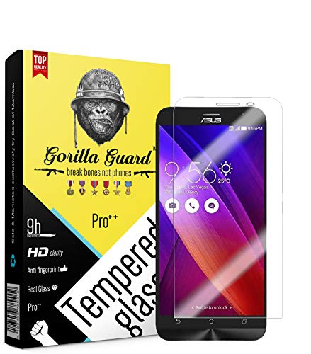 Gorilla Guard HD+ Clear 8H Hardness, Oleophobic, UV Protect, 2.5D Rounded Edges, Neo Coated, Tempered Glass Screen Protector for ASUS Zenfone Max Zc550kl with Installation Kit, Combo Pack of 2