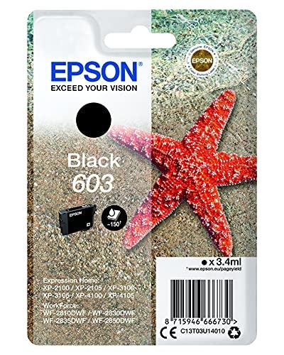 Epson Original 603 Tinte Seestern, WF-2830DWF WF-2835DWF WF-2850DWF XP-2100 XP-2105 XP-3100 XP-3105 XP-4100 XP-4105, Amazon Dash Replenishment-fähig (Schwarz) Normalverpackung, Standard