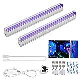 2pcs UV LED Black Light Bar, 6W UV Portable Blacklight for UV Poster, UV Art, Bedroom, Ultraviolet Light for Halloween and Blacklight Parties UK Plug with ON/OFF Switch