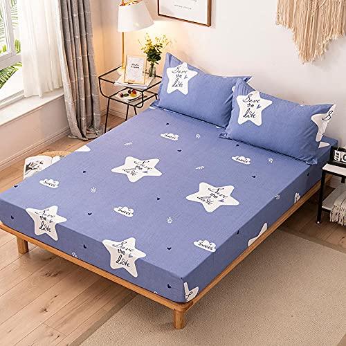 Nuoxuan Se Adapta Perfectamente al colchón,Hojas de Moda Impresas cepilladas, Cubierta Protectora Individual y Doble de tamaño King para Dormitorio de Apartamentos-Azul 1_120x200cm