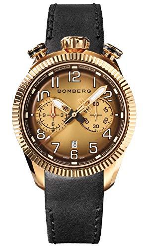 Bomberg BB-68 Vintage Herren Chronograph Uhr Rosegold PVD Schwarz Lederband NS44CHPPK.202.9