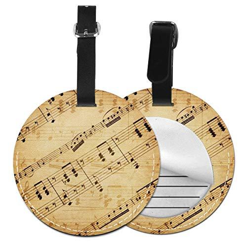 Notes Music Texture - Juego de etiquetas para maleta de piel personalizada, accesorios de viaje, etiquetas redondas para equipaje Negro Negro 2 PC