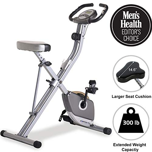 4. Exerpeutic Folding Magnetic Upright Exercise Bike with Pulse