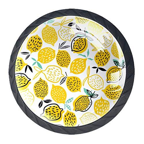 4-teiliges Set mit runden Möbelknöpfen für Schublade, Kommode, Schrank, Kleiderschrank, Ziehgriffe für Zuhause, Küche, Obst, Zitrone, Zitrus-Muster