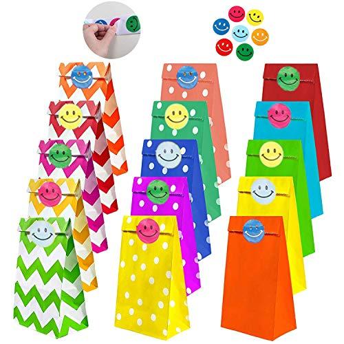 REAMOUS 45 Pcs Bolsas de Regalo Bolsas Papel Kraft Multicolor con 50 Pcs Pegatina Cara Sonriente para Niños Suministros Fiesta de Cumpleaños Pascua Boda, 15 Colores