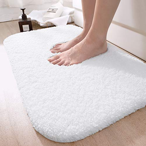 DEXI Bathroom Rug Mat, 24x16, Extra Soft and Absorbent Bath Rugs, Machine Wash Dry, Non-Slip Carpet Mat for Tub, Shower, and Bath Room, White
