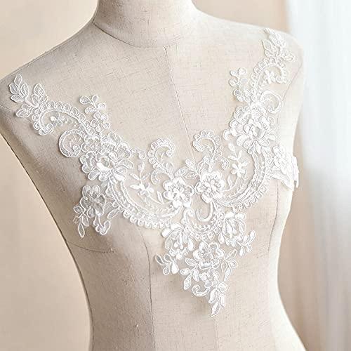 KIVDFIGC 1 unid blanco bordado encaje cuello apliques lentejuelas costura ajuste encaje collar pulsera tela DIY ropa accesorios