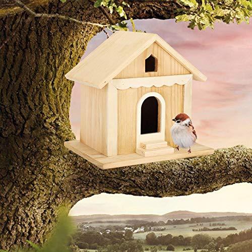 Pajarera de Madera de paulonia Caja Nido Hecha a Mano Parrots Bird para decoración de Jardines al Aire Libre (20x20x15cm)