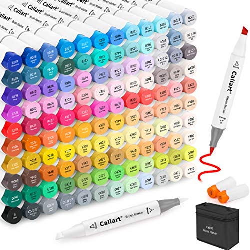 Caliart 121 Colors Alcohol Based Markers, Dual Tip (Brush & Chisel) Permanent Artist Art Markers Sketch Markers for Adult Kid Coloring Book and Illustration, Plus 1 Colorless Alcohol Marker Blender