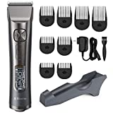 Hair Clippers for Men Professional Hair Cutting Kit Cordless Trimmer with LCD Display 250 Minutes Run Time, 5 Speed Adjustment, 8 Guide Combs for Barbers and Stylists, OPOVE X Master
