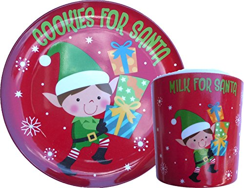 """Single""""Carrots for the Reindeer"""" Plate and Mug - Measure Approx 8"""" - Melamine Wares - Great for Christmas Parties and Kids Snacks (Reindeer Design)"""