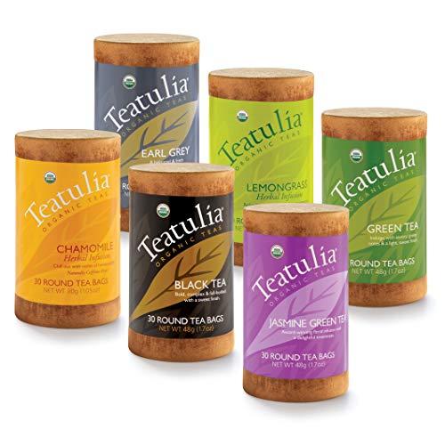 Teatulia Organic Tea Sampler Gift Set, 180 Classic Herbal Tea Infuser Bags in 6 Assorted Varieties...