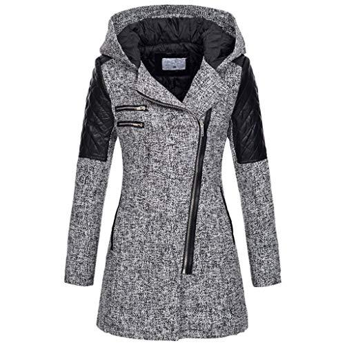 VECDY Damen Winter Jacke Windbreaker Warme Dünne Jacke dicken Mantel Winter Outwear Kapuze Reißverschluss Mantel Winterjacke
