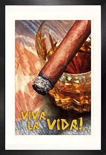 1art1 Bebidas Alcohólicas Puro Cubano Y Ron, Viva La Vida Póster (91 x 61cm) con Marco MDF (120 x 80cm)