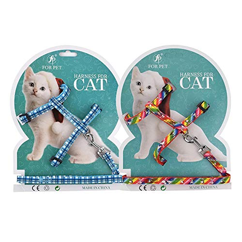 Pet Cats Collars Harnesses Adjustable Leashes Fit Puppy Walking Training Running Hiking - 2 Sets (Plaid & Rainbow)