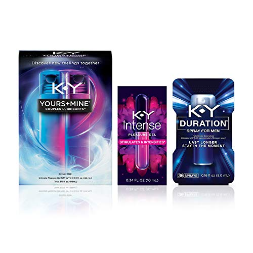 K-Y Couples Pleasure Kit Including, Yours & Mine Couples Lubricant, 3 fl.oz.+ K-Y Intense Pleasure Gel Lubricant 0.34 fl.oz.+ K-Y Duration Male Genital Spray 36 Sprays/ 0.16 fl.oz. 1 ea
