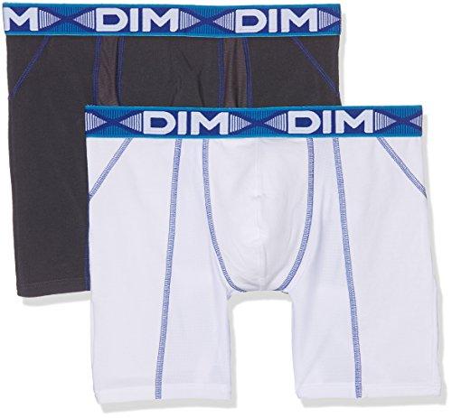 Dim 3D Flex Air Boxer Long X6, Multicolor (Blanc Ct Bleu/Gris plomb CT Bleu), Large (Talla del fabricante 4) (Pack de 2) para Hombre