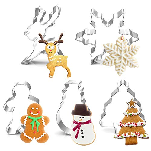Christmas Cookie Cutter Set- 5 Piece Stainless Steel Snowflake, Christmas Tree, Reindeer, Gingerbread Boy, Snowman for Kids - Stainless Steel Party Decorations