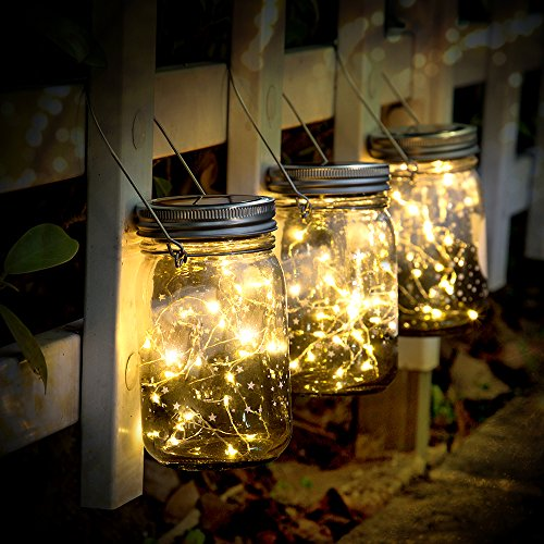 SUNNOW Luz Solar Jardín - Juego de 3 Lámparas Solares, 30 Luces LED de Hadas, Luces De Jardin Solares, Impermeable Interiores/Exteriores Decoración Lámpara Para Navidad