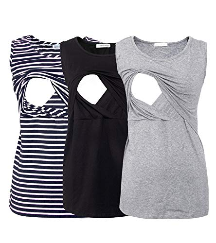 Smallshow Women's 3 Pack Maternity Nursing Tank Tops Large Blue Stripe-Black-Grey
