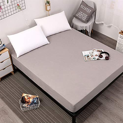 FYZS Waterproof Mattress Protector Solid Cover for Bed Breathable Hypoallergenic Protection Pad Cover Anti-mite Bed Linens -Multiple sizes (Color : Gray, Size : 160X200X30cm)