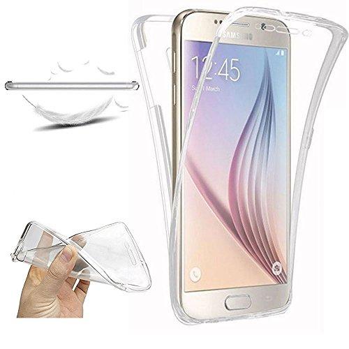 XCYYOO Funda para Samsung Galaxy S6 Edge Plus Silicona,Carcasas para Samsung Galaxy S6 Edge Plus, [360 Grados Full Body] Transparente Suave Ultrafina Gel Silicona TPU Choque Arañazos Protector