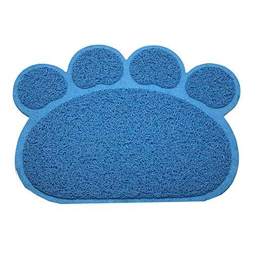 Tapis de litière en PVC respectueux de l'environnement en forme de patte pour chat et chiot - Durable et antidérapant - Imperméable - Différentes formes (bleu, patte)