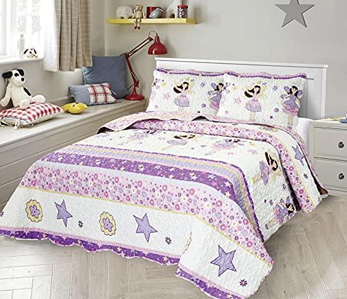 Sapphire Home 2-teiliges Tagesdecken-Set für Doppelbett, Bettwäsche Kinder, Teenager, Mädchen, Sterne, Ballerina, Puppe, lila Lavendel, Decke Doppelbetten + Kissenbezug, CJ23 Lavendel
