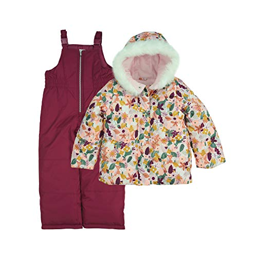 Carter's Baby Girls' Heavyweight 2-Piece Skisuit Snowsuit, Berry Pink Floral, 18MO