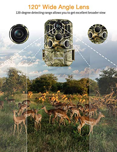 TOGUARD WiFi Wildlife Camera Trail Camera 20MP 1296P Hunting Camera with 120° Monitoring Angle with Motion Activated Night Infrared Vision Waterproof Outdoor Scouting Game Camera