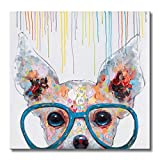 Libaoge 1 Panel Poster Painted Oil Paintings Canvas Wall Art Colorful Dog with Glasses Animal Modern Abstract Artwork Painting for Living Room Bedroom Office Home Decoration 20x20 Inches