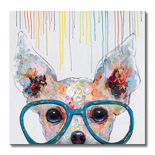 Libaoge 1 Panel Poster Painted Oil Paintings Canvas Wall Art Colorful Dog with Glasses Animal Modern Abstract Artwork Painting for Living Room Bedroom Office Home Decoration 12x12 Inches