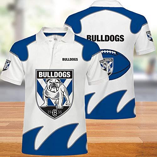 NRL Polo T-Shirt - Canterbury Bankstown Undershirt 3D Sweat-Shirt Unisexe Ados Casual été Hauts à Manches Courtes pour l'exercice Physique (Gift) White+Blue- XXXXL