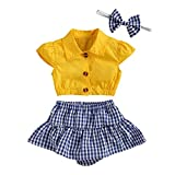 Newborn Infant Baby Girl Summer Clothes Flutter Sleeve Crop Tops and Plaid Ruffle Shorts Skirt Outfits Set (Yellow Blue,18-24 Months)
