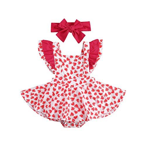 LUCSUN Traje de San Valentín con estampado de corazón y volantes en los hombros para bebé y niña