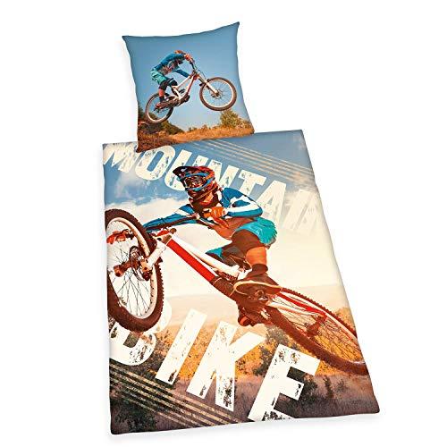 Herding YOUNG COLLECTION Bettwäsche-Set, Mountainbike Wendemotiv, Bettbezug 135 x 200 cm, Kopfkissenbezug 80 x 80 cm, Baumwolle/Renforcé
