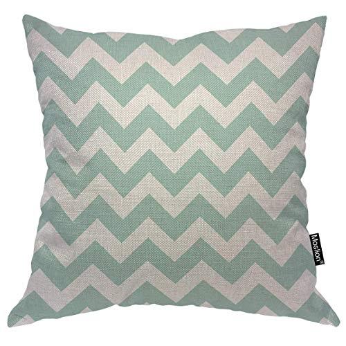 Moshow Chevron Throw Pillow Covers Geometrical Zigzag Stripes Ocean Wavy Stripes Blue White Pattern Square Pillow Case Cushion Cover for Home Car Decorative 18x18 Cotton,45x45CM