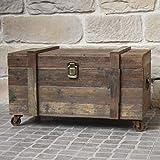 chemin_de_campagne Grand Coffre en Bois Malle à roulettes Style Ancien 80 cm x 49 cm x 48 cm