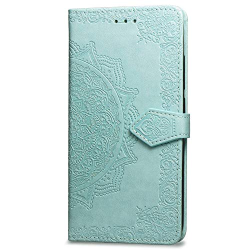 Huawei Honor 7A Wallet Case Green Mandala, Huawei Honor 7A Flip Case with Card Holder, Patterned Faux Leather Phone Cover with Magnet Kickstand & Wrist Strap for Huawei Honor 7A Case Women