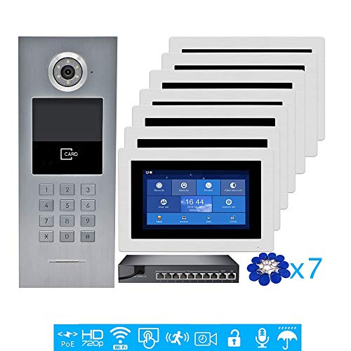 Purchase VEHISEURE 720P HD IP POE 7 Touch Screen Video Intercom Door Phone Record Kit for 7 Apartme...