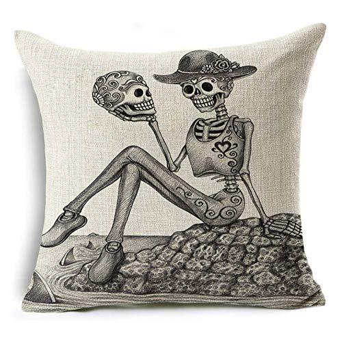 Fugift Fundas de almohada de Halloween con diseño de calavera para decoración del hogar, funda de cojín acogedora para el hogar