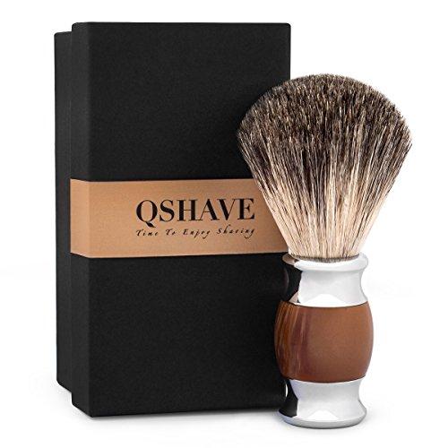 QShave - Brocha de afeitar, 100% pelo de tejón auténtico y puro y mango de resina plástica, hecha a mano, -