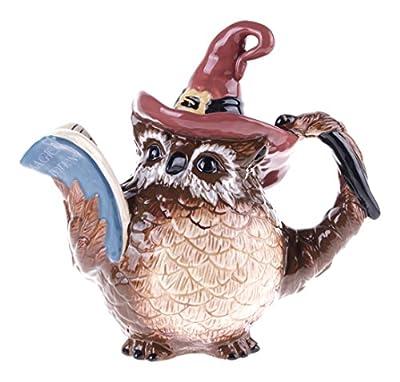 """Blue Sky Ceramic Halloween Witch Owl Teapot, 10"""" x 6"""" x 9.25"""""""