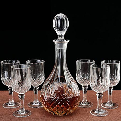 Decanter Glaswerk (1500ML)7-delig glas Fast Decanter wijnbeluchter gieter & Whisky glazen hand geblazen lood-vrije kristal glas geschenkdoos