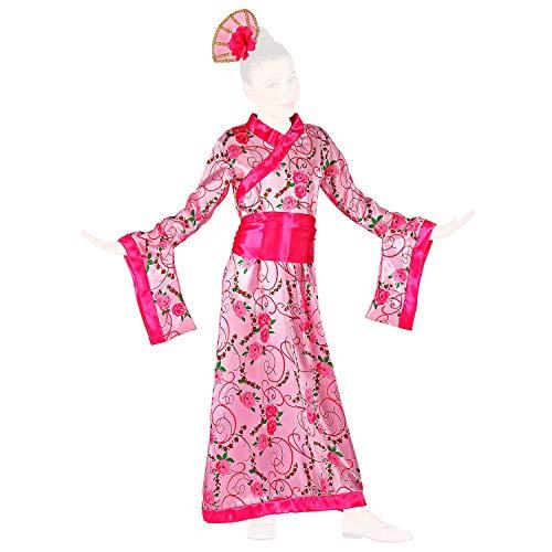 COM-FOUR® kimono in roze - kostuumjurk in verschillende maten voor kinderen kimono kostuum met jurk, riem en haaraccessoires