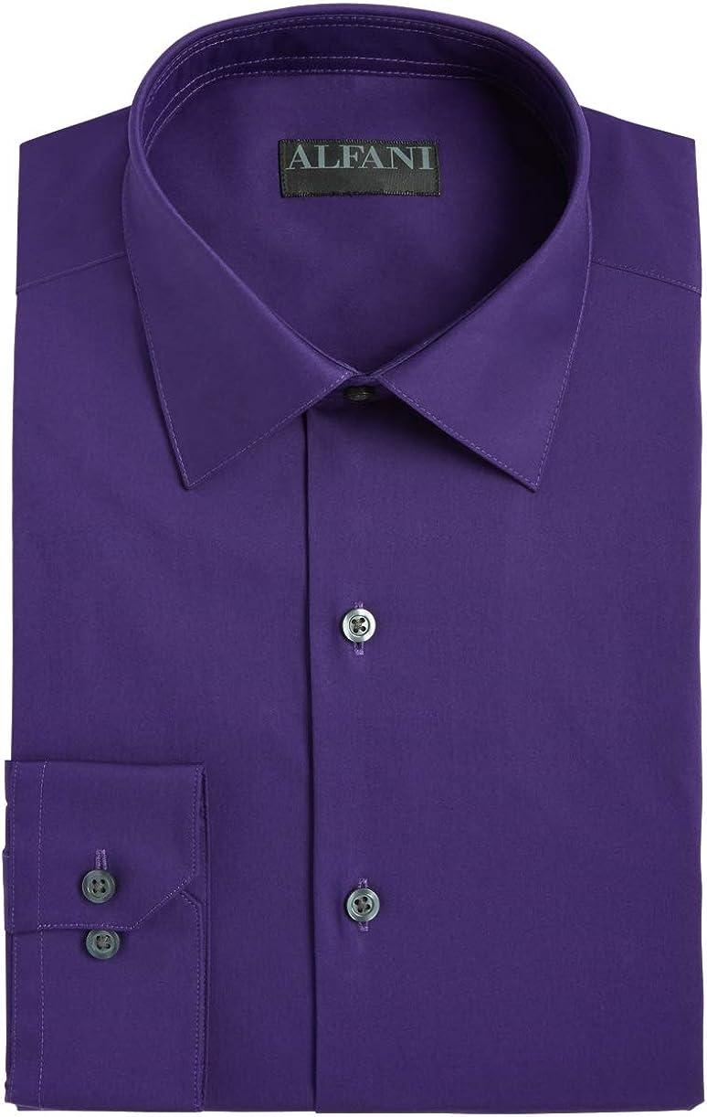Alfani Men Dress Shirt 17-17 1/12 Stretch Slim Fit Button Down Purple XL