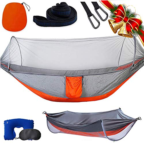Single & Double Camping Hammock with Mosquito/Bug Net, Hammock Tree Straps and Carabiners, Easy Assembly, Portable Parachute Nylon Hammock for Camping, Backpacking, Survival, Travel & More