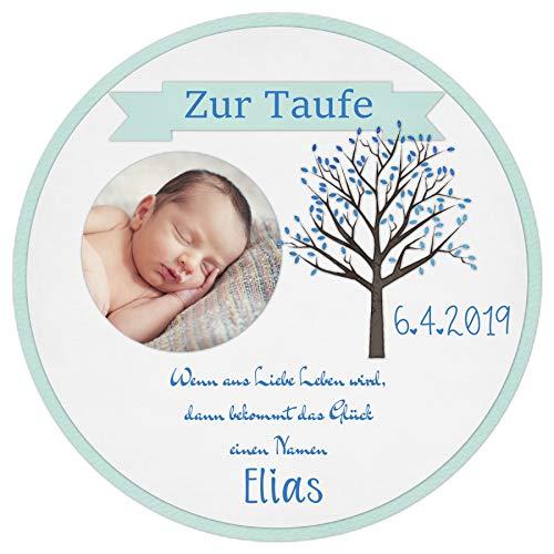 Tortenaufleger Tortenbild Taufe blau Lebensbaum Jungen Wunschtext Foto essbar Ø 20cm 646